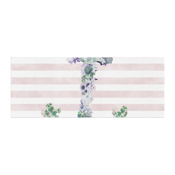 "Nika Martinez ""Floral Anchor"" Pink Stripes Bed Runner"