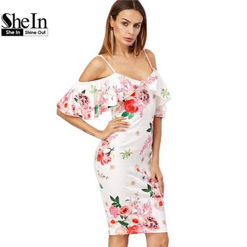 SheIn Summer Women Dress Korean Fashion Clothing White Rose Print Cold Shoulder Short Sleeve Ruffle Knee Length Dress