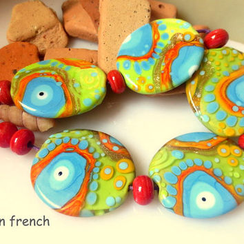 jasmin french ' fizzy fun ' lampwork focal beads glass art set ooak