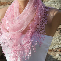 Pink  Lace Scarf Shawl Scarf -  Cowl Scarf - fatwoman
