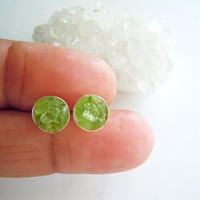 Raw Peridot Stud Earrings - Raw Stone Posts - Natural Gemstone -Sterling Silver