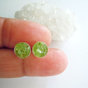 made in earrings p stone gemstone sterling silver cab peridot