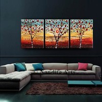 """Abstract Flowers Painting on Canvas Artwork, 72"""" Original Textured Tree Art Floral Painting Modern Home Decor Gift for Women By Nandita"""