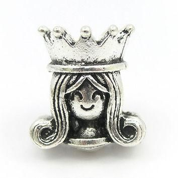 High Quality Crown Princess Silver Bead European Charm Fit Pandora Women DIY Bracelets