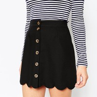 ASOS Aline Skirt with Scallop Hem and Button Through