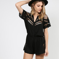Netted Short Sleeve Romper - Black - Large