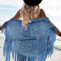 Blue Laser Cut Fringed Cape