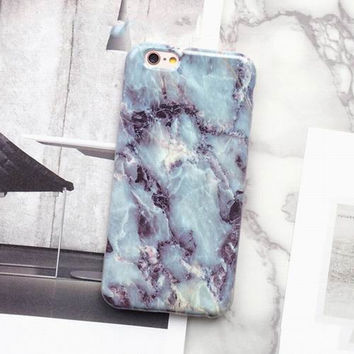 Blue HD 2017 Marble Texture Hard Case Phone Case For iPhone 7 7Plus 6 6s Plus 5 5s SE