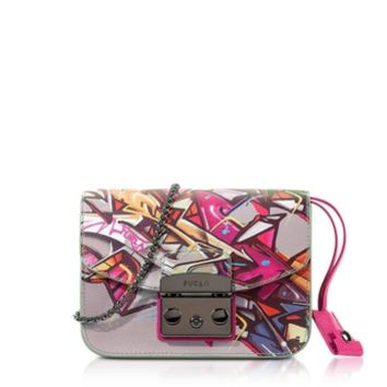 Furla Designer Handbags Metropolis Toni Pinky Graffiti Mini Crossbody Bag