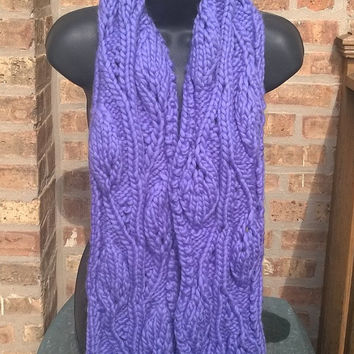 Ready To Ship - Women's Scarf - Pure wool Scarf - Lace Leaf in Lavender - 6ft - Winter Accessory