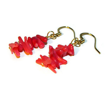 Red coral earrings, real coral jewelry, dangle earrings, coral spike earring, gold plated earring, gold plated jewelry, coral stick beads