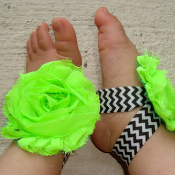 Baby Barefoot Sandals - Neon Green Black Chevron Piggy Petals - Toe Blooms - Photo Props - Baby Shower Gift - - Baby Shoes - Infant Shoes