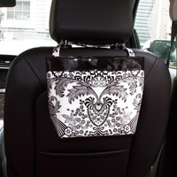 Car Headrest Caddy ~ Black Toile Oilcloth ~ Black Band