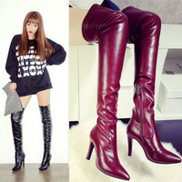 Sexy Pole Club Dancing Womens Long Black Wine Red Genuine Leather Pointed Toe Stiletto High Heel Over The Knee Thigh High Boots
