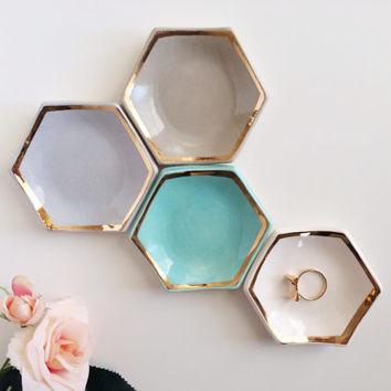 Hexagon Ring Dish with Gold