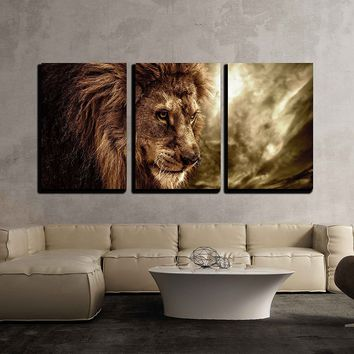 "wall26 - 3 Piece Canvas Wall Art - Lion Against Stormy Sky - Modern Home Decor Stretched and Framed Ready to Hang - 24""x36""x3 Panels"