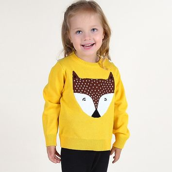 Oklady 2017 New Boys Sweater Autumn Baby Boys Girls Costume Crochet FOX Top Animal Sweater Children Toddler Clothing Pullover