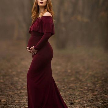 2018 maternity photo shoot dress Maternity Photography Props Plus Size Pregnancy photography props maxi mermaid Maternity gown