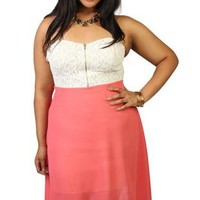 plus size coral chiffon high low dress with lace bodice - debshops.com