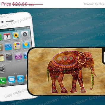 SALE Indian Art Elephant 2 piece rubber lining iPhone case, iPhone 5 case - Made in USA  iPhone 4 hard case, iPhone cover, iPhone hard case