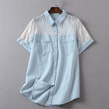 Fashion lace denim shirt
