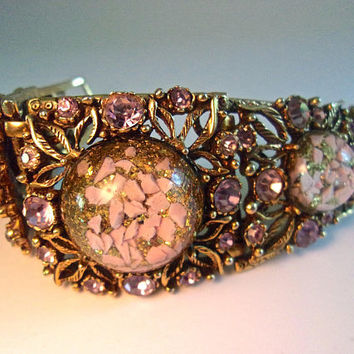 SELRO Heavy Lucite Pink Confetti Bracelet, Purple Rhinestones, High Domed Cabochons, Vintage BookPiece