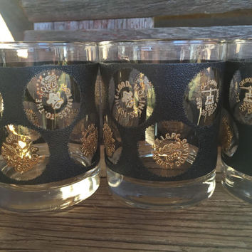 Whiskey glass, vintage glasses, black & gold, gold coin, mid century barware, Mad men style, low ball, MCM gold coin rocks bar cart glasses