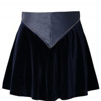 Triangle Faux Leather Velvet Skater Skirt in Navy - New Arrivals - Retro, Indie and Unique Fashion