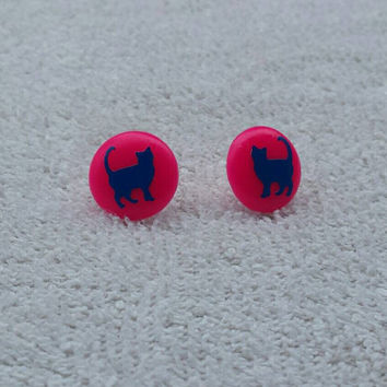 Cute earrings, kid earrings, child earrings, colorful earrings, biggie beads, perler beads, stud earrings, acrylic bead earrings, cat studs