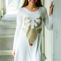 Reindeer Sparkle Tunic Ivory- LIMITED INVENTORY
