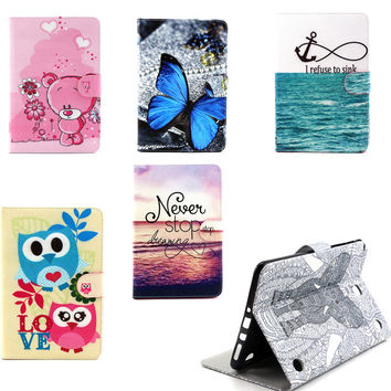 YH Vintage Cute OWI Design Book  Flip PU Leather Stand Case Cover For Samsung Galaxy Tab A 9.7 inch T550 T555 SM-T555  Tablet