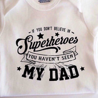 My dad is a superhero baby bodysuit shirt, funny baby clothes, fathers day gift
