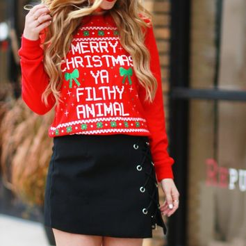 Merry Christmas ya filthy animal fashion sweater