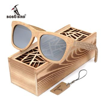 BOBOBIRD Natural Wooden Beach Personality engraving Sunglasses Square Polarized Sun Glasses Vintage sunglass in Gift box