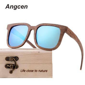 Angcen Rose Wooden Sunglasses Men Polarized Brand Vintage Natural Bamboo women Sun Glasses Square Mirrored Eyewear for Man YA16