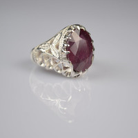 Red Ruby Ring Sterling Silver Genuine Gemstone Size 9.75 (Re-sizing is available for free)