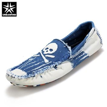 URBANFIND Men Washed Denim Sneaker For Man Fashion Cool Skull Loafers Size 39-44 Boy Slip On Flats Male Casual Shoes Hot Sale