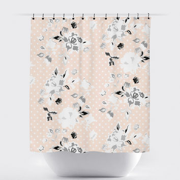 Peach Polka Dot Shabby Chic Floral Shower Curtain