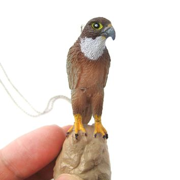 Realistic Eagle Hawk Bird Animal Plastic Pendant Necklace | Animal Jewelry