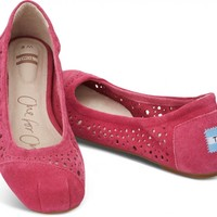 TOMS Shoes Pink Moroccan Cutout Women's Ballet Flats,