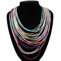 "16"" multi strand 27 row cord necklace magnetic closure"