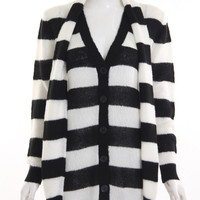Black and White Stripe Shawl Collar Sweater
