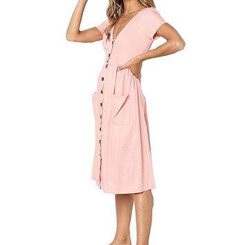 2018 Women's Fashion Summer Short Sleeve V Neck Vintage Midi Dress with Pockets Solid A-line Sundress Casual Dresses New GV917