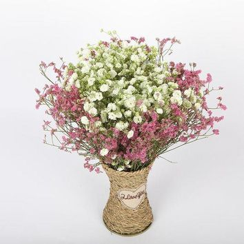 CREYKH7 White gypsophila dried flower bouquet large bunch of home living room decoration crystal grass forget-me lover grass with vase