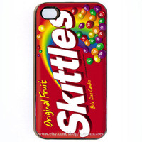 iPhone 4 4s Case, Custom Skittles Candy Wrapper in Black or White FEATURED in NOV 2012 issue of Everyday With Rachael Ray Magazine