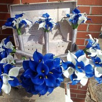 17 piece Real Touch Royal Blue White Calla Lily Wedding Bouquet Flower Set with Matching Boutonnieres & Corsages