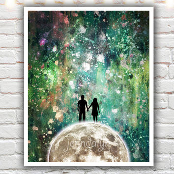 Divenire - fine art print, mixed media painting, couple holding hands, celestial sky, moon and stars print, turquoise green wall art
