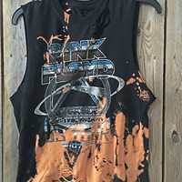 PINK FLOYD small  bleach tie dyed cropped, rock n roll shirt distressed grunge, concert wear, rock shirt
