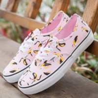 Vans new fashion men and women shoes banana print low help canvas shoes Pink