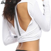 Sexy Hollow Back Women Yoga Shirts Quick Dry Sports Tops Gym Fitness Clothes Female Sport T Shirt Running Top Jogging Shirts